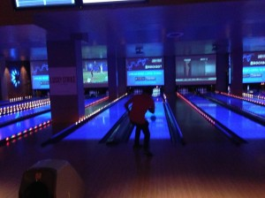 We bowled at Lucky Strike, a gimmicky but fun alley in the hustle-bustle Hollywood & Highland Mall.