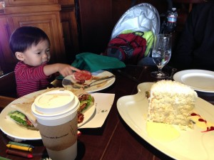 Then, as seen here, we met up with a small child with a yen for coconut chiffon cake. He knows what he likes!