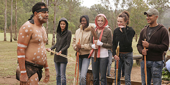 Production still from when the ANTM girls terrorized the poor Aborginal people.