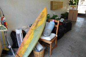 All my jettisoned items -- including surfboard, ice cream maker, beaten-up Ikea chair. The chair is the only giveaway that I'm unconflicted about.