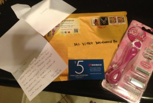 They sent me a free razor holder (all the bases are interchangable with their razors), two razors, a sweet note and a coupon.