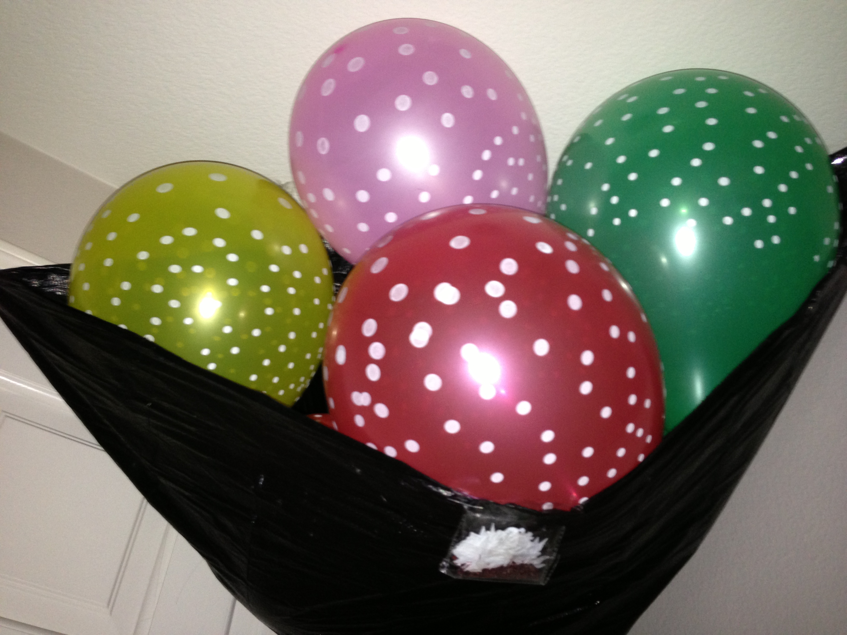 "Last year, I blew up these balloons, stuffed them into a cut garbage bag, and rigged them to drop, along with a bag of ""HAPPY BIRTHDAY!"" confetti pieces, upon Deepak's opening of the door. Like a"