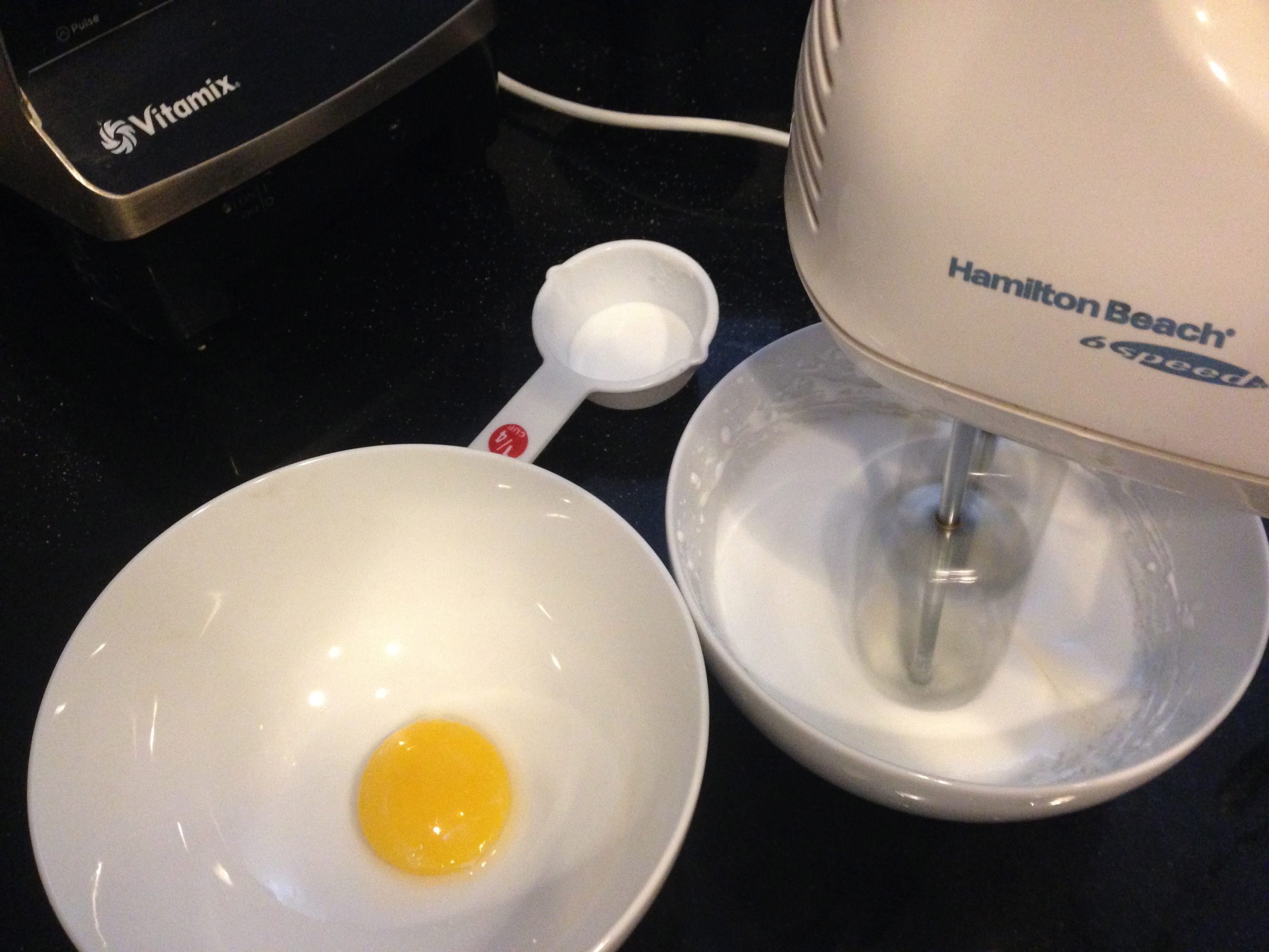 The recipe's 4 egg whites and yolks became 1 of each!