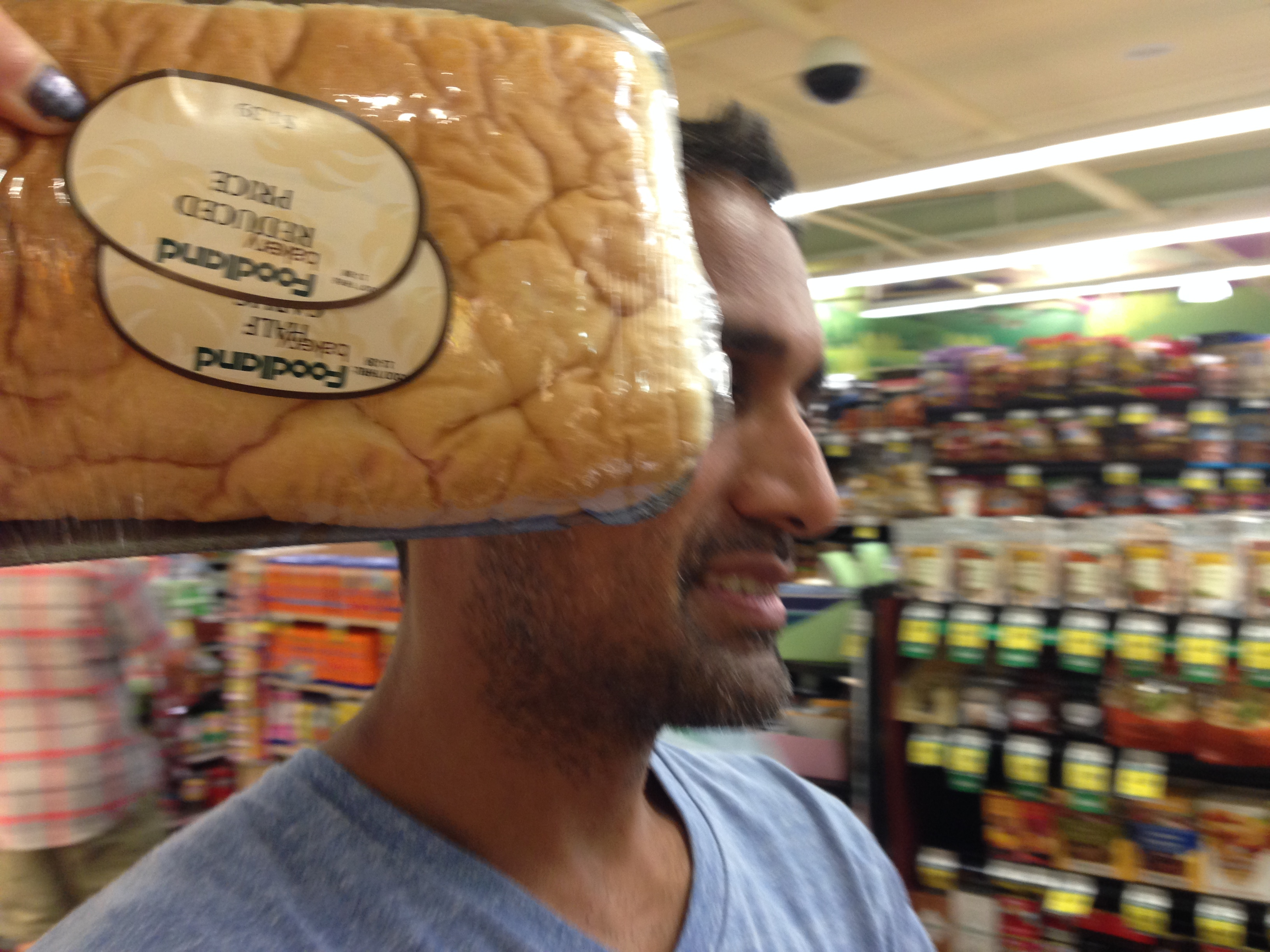 """Trying to coin the pejorative, """"You reduced-price bread brain!"""" with limited success."""
