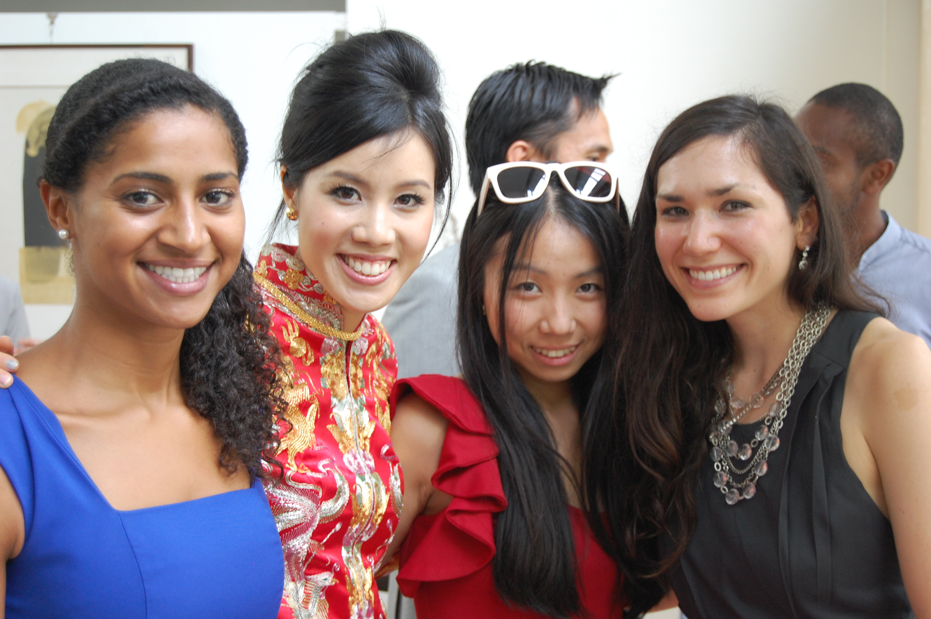 Lina and I this year, at the wedding of our friend Su (the blushing bride second from left!) in Singapore. Our other friend Luci is on the far left. I did not wear a bedbug-suspected outfit to this event.