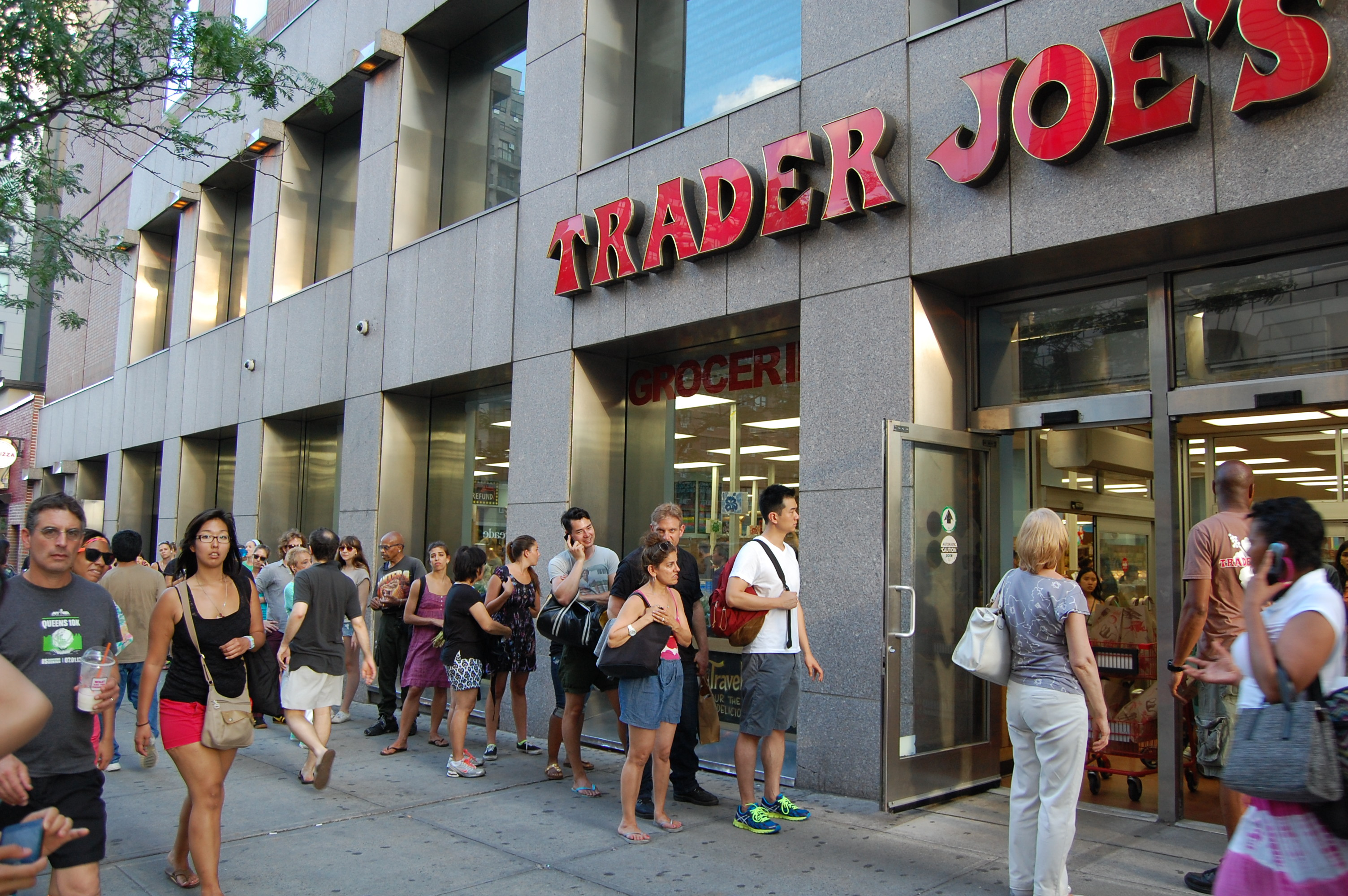However, for all my pleasant feelings about New York, we have to agree: these are not acceptable shopping conditions. When I walked to work a few years ago -- a 2-mile trip -- I passed 3 Trader Joe's! I had the ability to waltz into each, no waiting, for free coffee, samples and legitimately 2-Buck Chuck (R.I.P.) The defense rests.