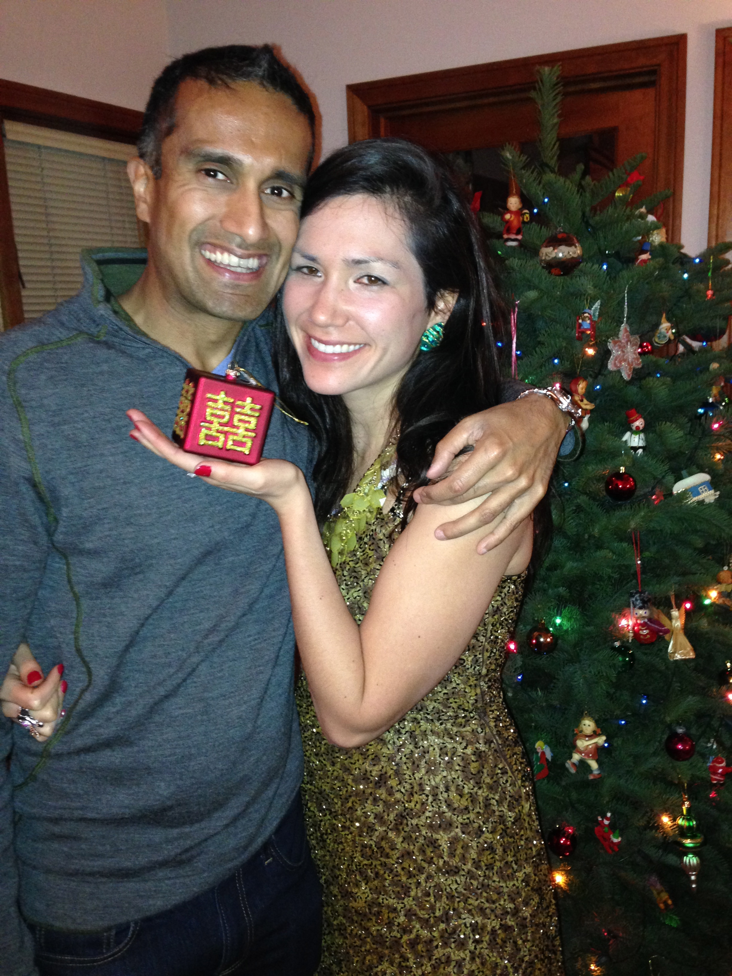 "The ornament contains a traditional Chinese wedding symbol, meaning ""double happiness."""
