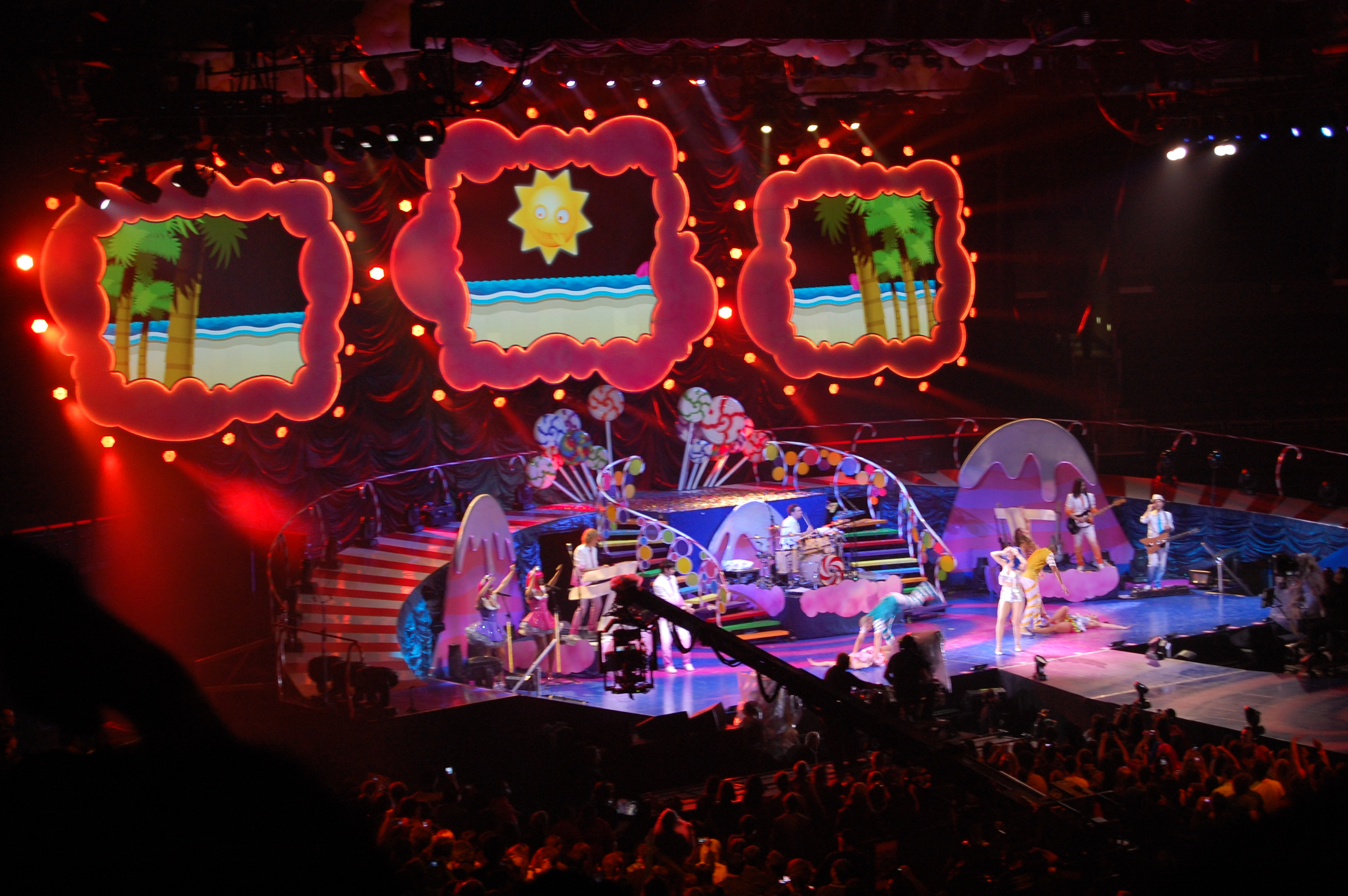 "Representative footage from Katy performing ""California Gurls"" in concert. (Because Deepak and I saw her do it ... twice!)"