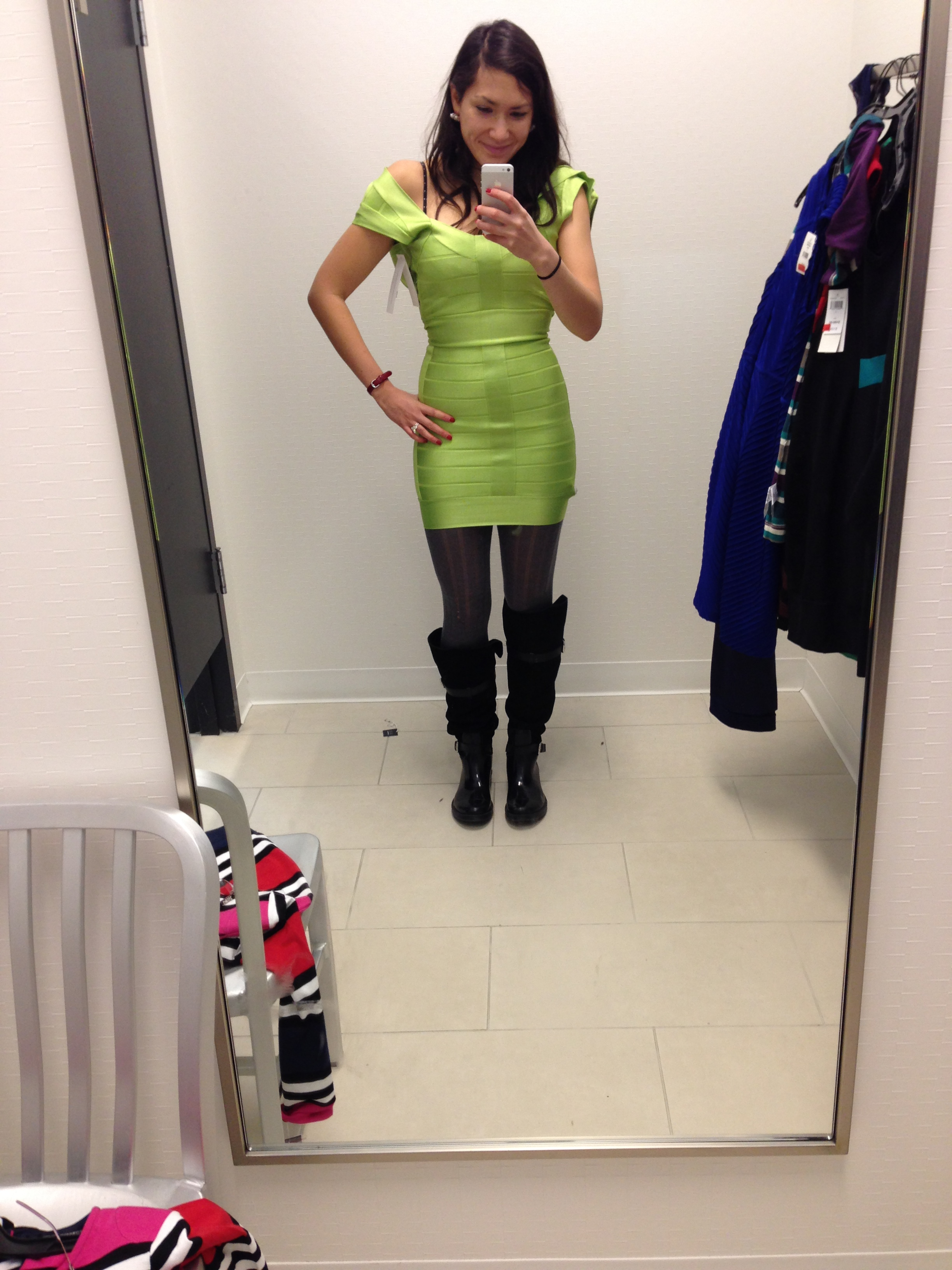 Again, Off Fifth, but only because the Loehmann's dressing room is completely open, à la narcotics assembly room. This is a French Connection-faux-Hervé Léger bandage dress. I didn't buy it because I felt like Kermit at a costume ball. Mistake?