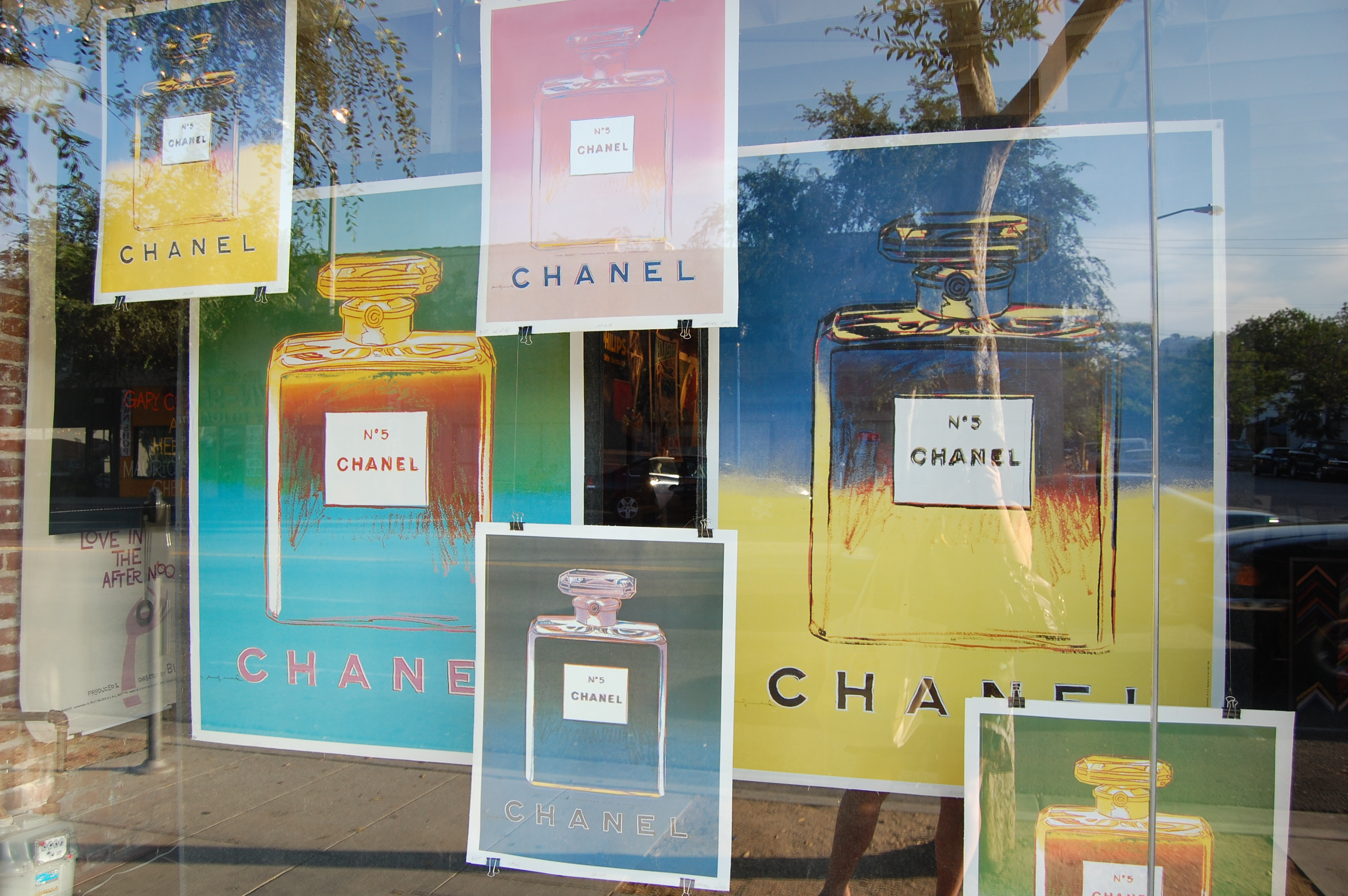 """This was the display at a poster shop, not a perfumery. (As an inveterate fan of """"old lady scents"""" and nearly noxious chemical notes, I love No. 5.)"""