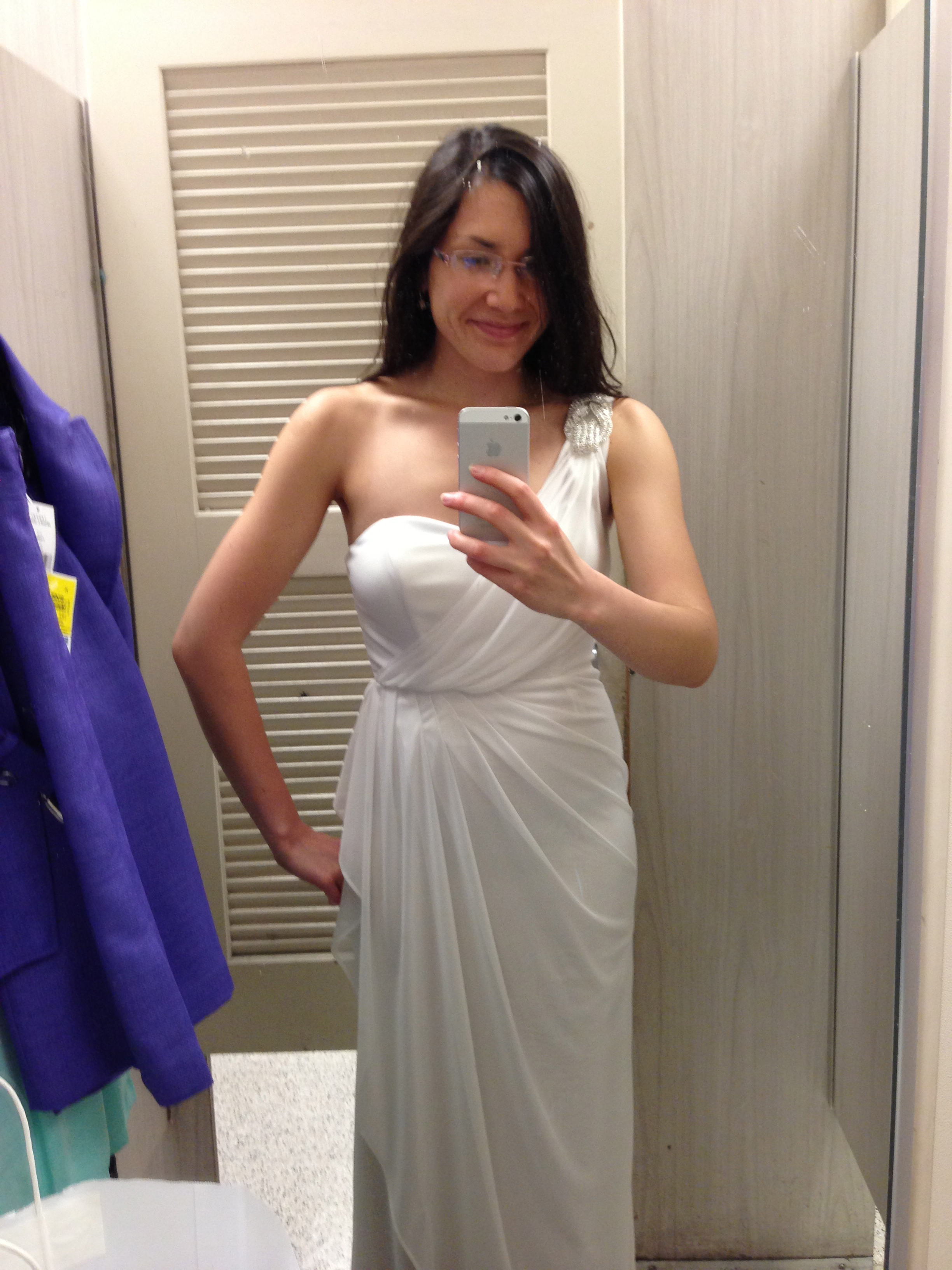 "Ha! This is not it. This is an alarmingly toga-like jersey dress that was retailing for $16.99 or so. So no. But my point is that in the nuptial glut that characterizes most people's late 20s/early 30s existence, wedding garb can mush into a whole ""All Look Same"" experience anyway. Should I just have bought this cheapie?"