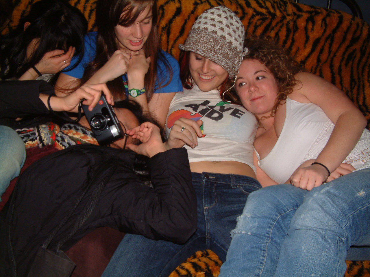 Digging back even further! In college, here is a throwback Couch of My Faves™: also featuring Rachel and Lexi, elsewhere mentioned on this blog. Lauren is the one taking a photo of my taking a photo.