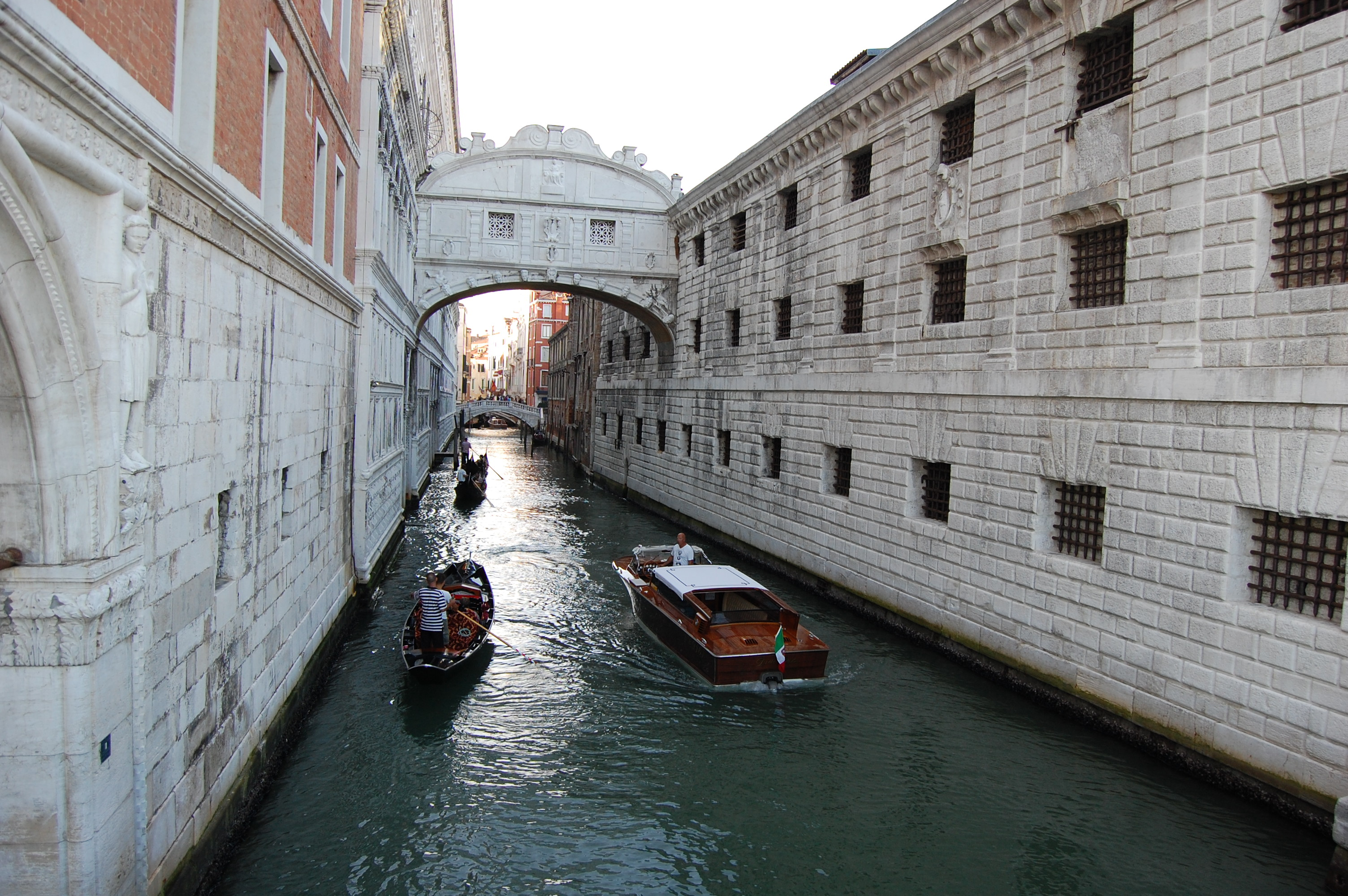 Trying the bridge on for Sighs in Venice
