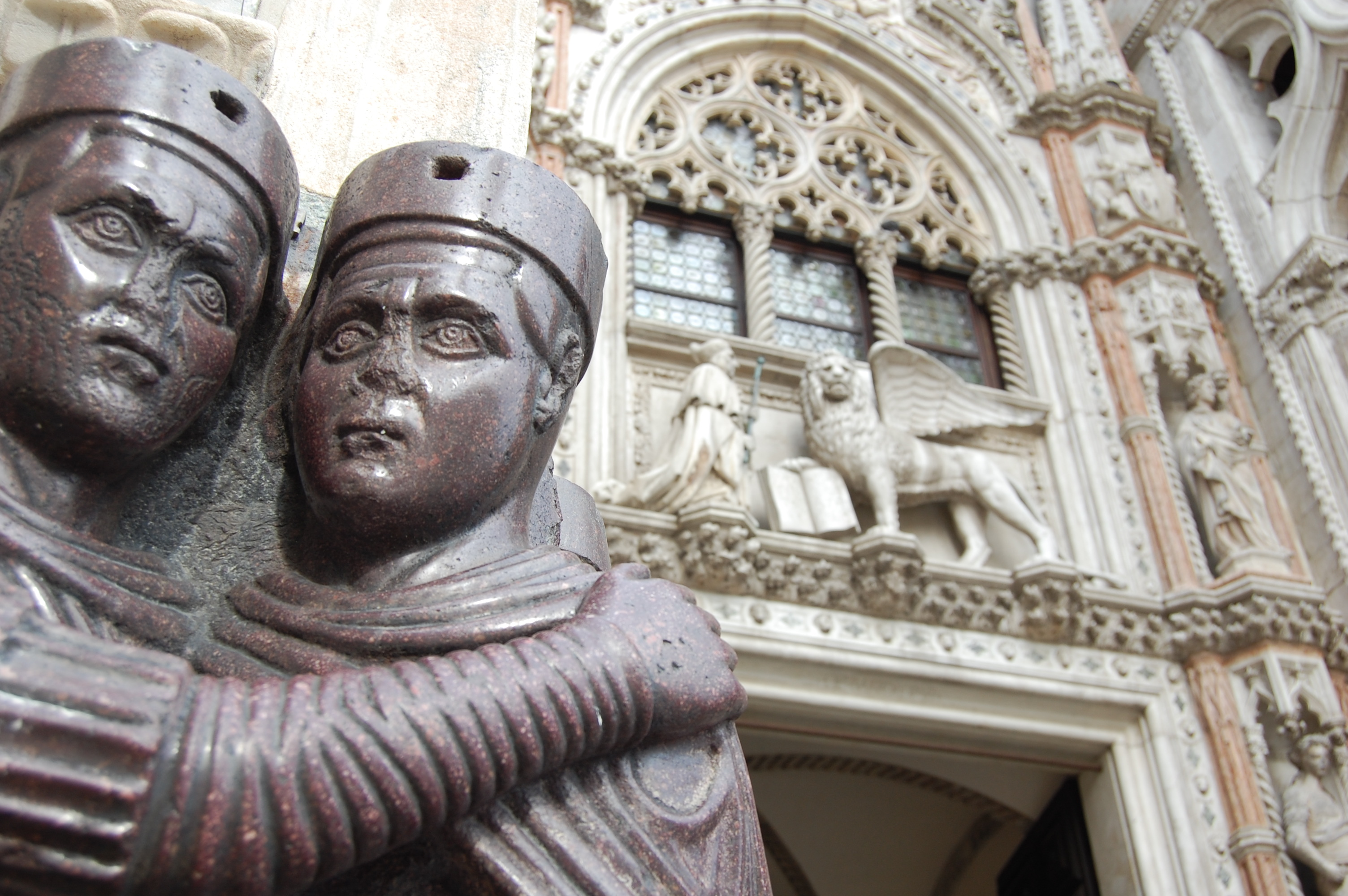 Deepak and I joked that this porphyry statue of The Four Tetrarchs, affixed to St. Mark's Basilica in Venice, brings to mind my penchant for movement-restricting PDA. Clingin' on for love/the durability of the Roman Empire!