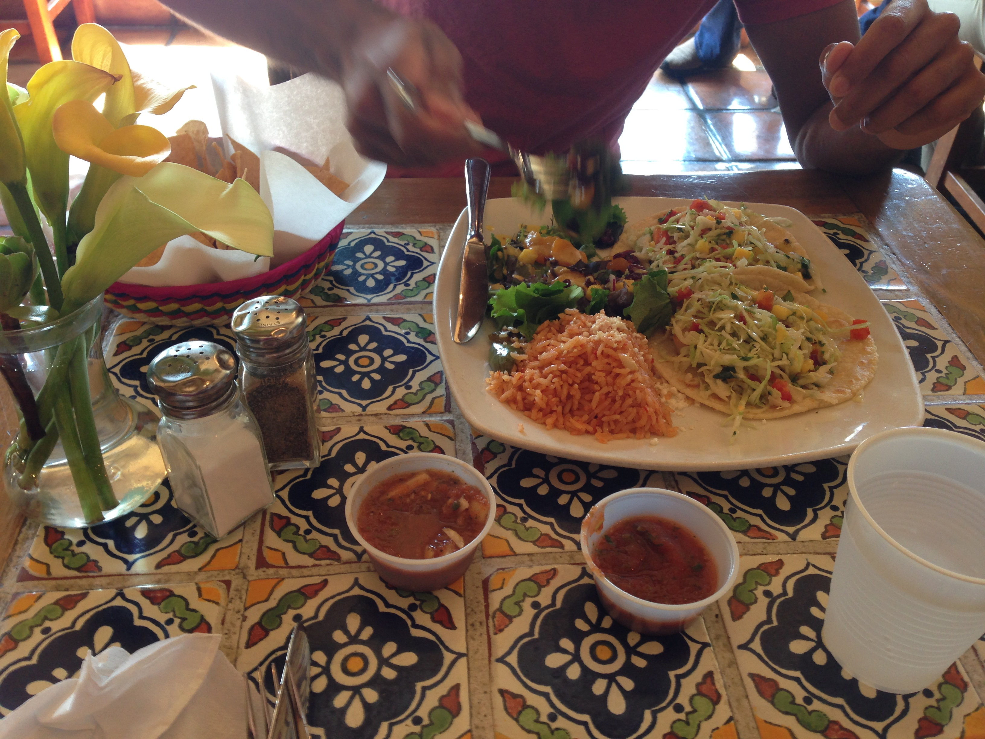 Food pics + travelogue combined! Here we are at Los Agaves, a fabulously reviewed (http://www.yelp.com/biz/los-agaves-santa-barbara) Mexican restaurant in Santa Barbara.