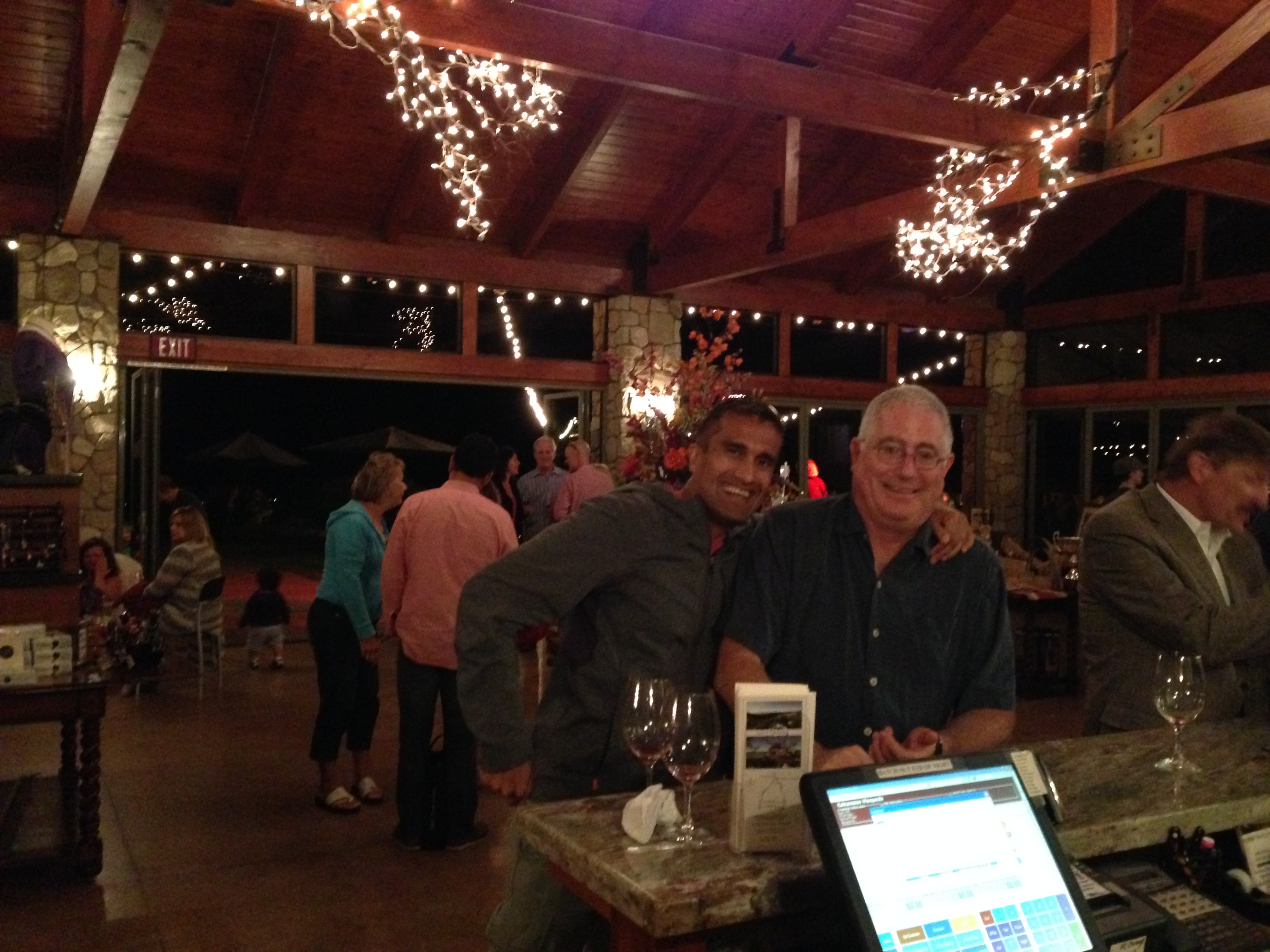 Jack and Deepak at Calcareous winery pick-up party