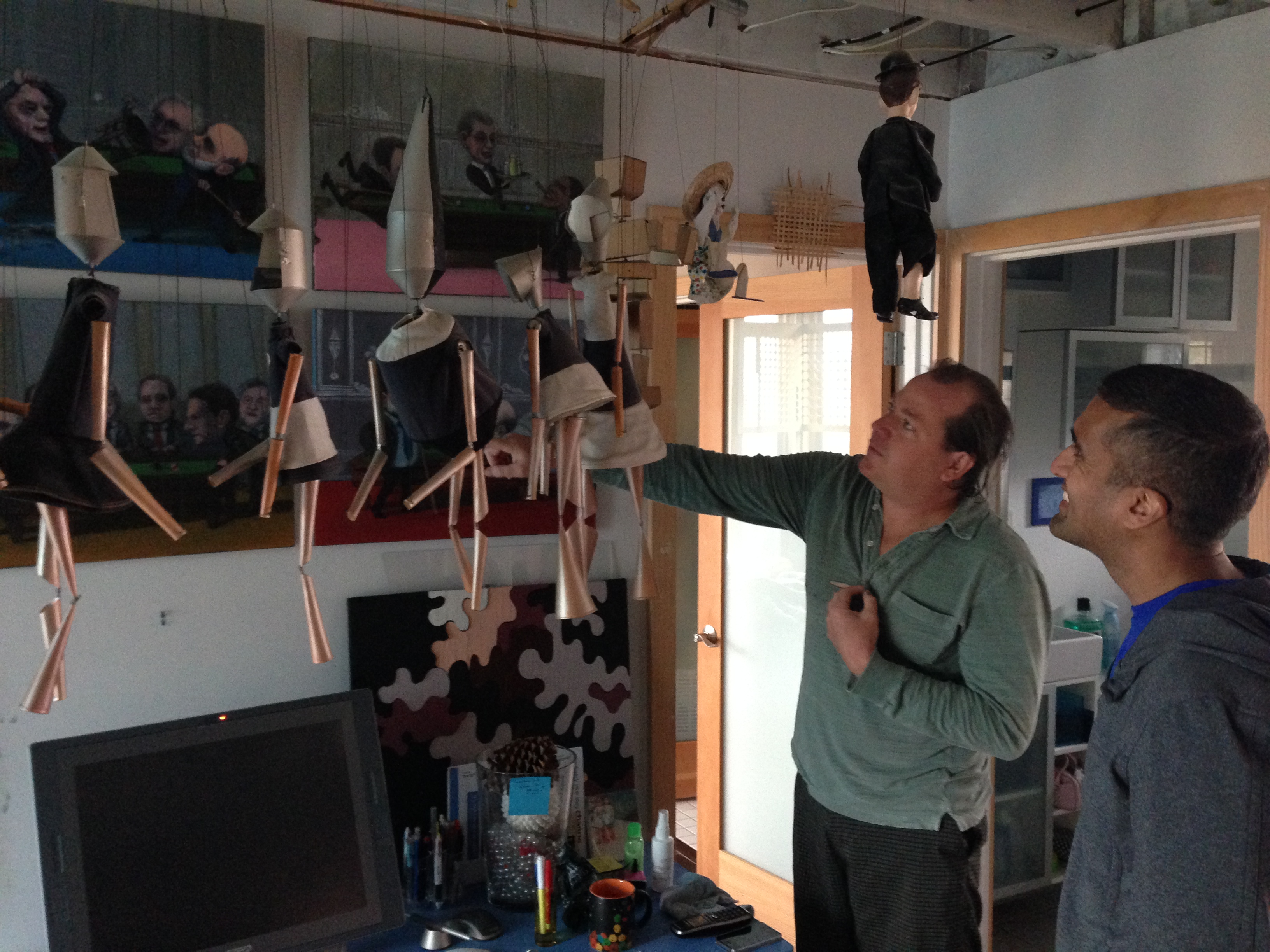 "Puppets, too! Nathan and Annamarie have dubbed their workshop ""The Mechanical Theater Ktsibios,"" after the Greek master"