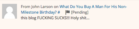 "This comment was written on a post I wrote about buying Deepak a bidet-style Toto toilet. Maybe Mr. Larson was pulling the easy excrement pun? In any event, hold on while I click ""approve"" on this pending gem of a comment!"