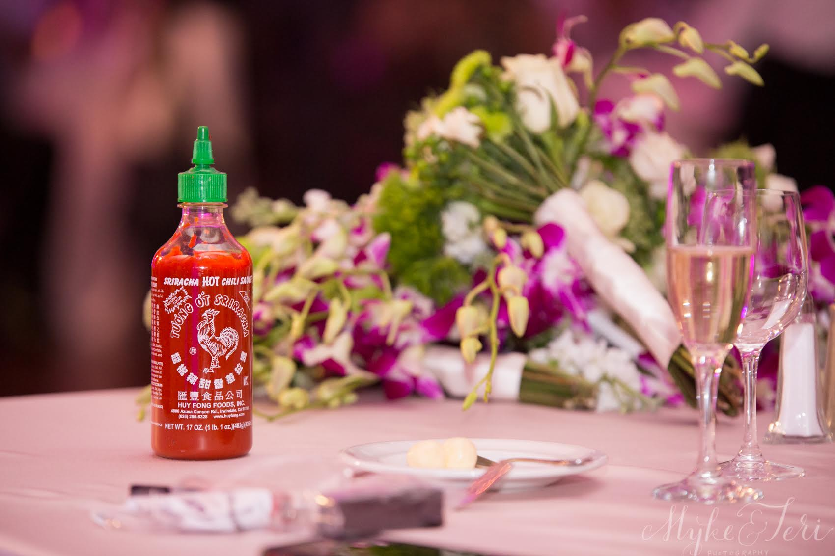 I hope you will find our love story to be as piquant as a bottle of Sriracha. Actually, sriracha isn't that hot to me! #deadtastebuds However, our poor James Beard event-hosting chef's face when he saw that we brought a bottle of sriracha to the reception -- if only as a gag -- now that was heated ...
